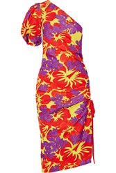 Rosie Assoulin One Shoulder Ruched Printed Cotton Blend Faille Midi Dress Purple