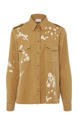 Red Valentino Cotton Twill Shirt With Monkey Print Neutral