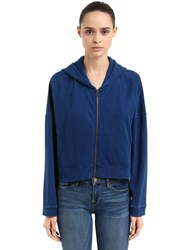 Champion Oversize Hooded Cotton Crop Sweatshirt Blue