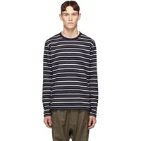 Junya Watanabe Navy Horizontal Stripes Long Sleeve T Shirt
