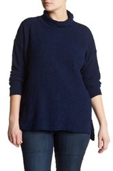 Joseph A Textured Cowl Neck Sweater Plus Size Blue