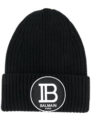 Balmain Logo Patch Beanie Black