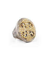 Classic Diamond Pave Large Oval Cross Ring Konstantino