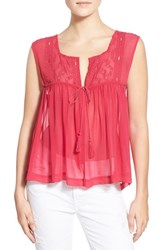 Women's Plenty By Tracy Reese 'Convertible' Sheer Embroidered Sleeveless Top