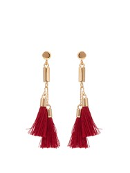 Chloe Lynn Tassel Drop Earrings Burgundy