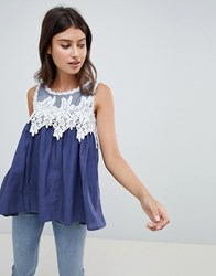 Qed London Lace Detail Top Navy