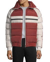 Zegna Sport Quilted Zip Front Down Jacket Orange