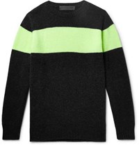 The Elder Statesman Striped Cashmere Sweater Charcoal