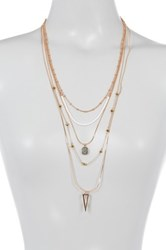 Vince Camuto Multi Layer Bead And Chain Necklace Pink