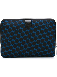 Z Zegna Geometric Pattern Zipped Clutch Blue