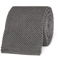 Tom Ford 7.5Cm Knitted Silk Tie Gray