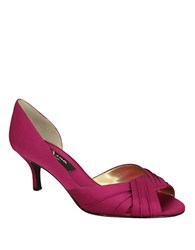 Nina Culver Satin Open Toe Pumps Pink