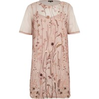 River Island Pink Mesh Embroidered T Shirt Dress
