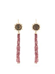 Dubini Constantine Garnet Bronze And Yellow Gold Earrings Red
