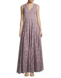 Vera Wang Floral Lace Floor Length Gown Quartz