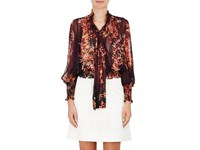 Warm Women's Autumn Floral Chiffon Blouse Burgundy Red