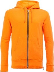 Balmain Side Zip Hoodie Yellow Orange