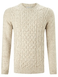 John Lewis Frosty Cable Knit Crew Neck Jumper Natural