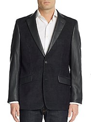 Saks Fifth Avenue Trim Fit Faux Leather Accented Corduroy Sportcoat Black