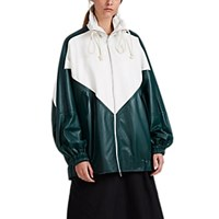 Plan C Colorblocked Leather Anorak Green