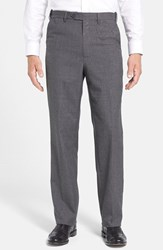 Men's Berle Self Sizer Waist Tropical Weight Flat Front Trousers Medium Grey