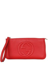 Gucci Gg Stitched Grained Leather Pouch