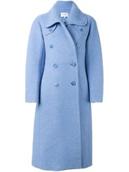 Carven Double Breasted Coat Blue