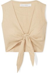 Faithfull The Brand Marcie Cropped Tie Front Linen Top Beige