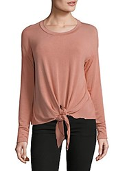 Saks Fifth Avenue Red Tie Front Long Sleeve Top Salmon White