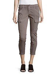 J Brand Cotton Blend Six Pocket Cropped Pants Grey