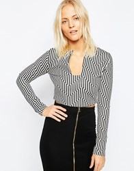 Isla Chevron Long Sleeve Top Black