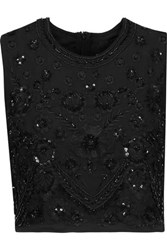 Needle And Thread Cropped Embroidered Embellished Crepe De Chine Top Black