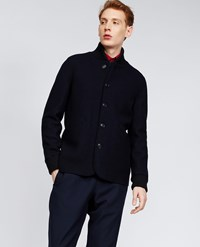 Aspesi Boiled Wool Jacket Avio Navy Blue