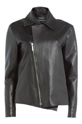 Anthony Vaccarello Boxy Leather Jacket Black