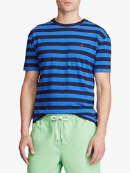 Ralph Lauren Polo Custom Slim Fit Short Sleeve Striped T Shirt Pacific Royal French Navy
