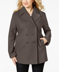 Kenneth Cole Plus Size Double Breasted Pea Coat Coffee