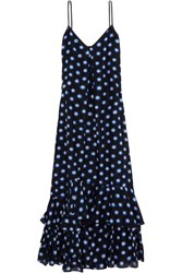 Boutique Moschino Ruffled Polka Dot Cotton And Silk Blend Voile Maxi Dress Black