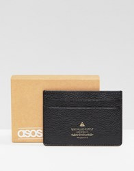 Asos Leather Card Holder In Black With Foil Emboss Logo Black