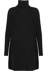 N.Peal Oversized Ribbed Cashmere Turtleneck Mini Dress Black