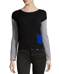 Philosophy Cashmere Cashmere Two Tone Cropped Pullover Black Flannel