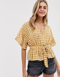 Miss Selfridge Tie Front Blouse In Yellow Gingham Multi