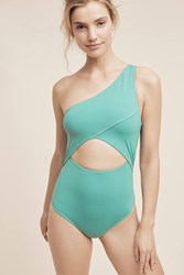 Anthropologie Kore Calypso One Shoulder One Piece Green