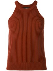 Theory Waxon Tank Top Women Polyester Spandex Elastane Viscose M Red