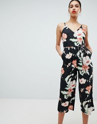 Ax Paris Tropical Print Culotte Jumpsuit Black