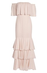 Wayf Penelope Off The Shoulder Popover Gown Champagne
