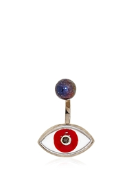Delfina Delettrez Brown Eye And Pearl Mono Earring Silver Red