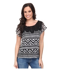 Roper 9592 Black White Aztec Print Georgette Black Women's T Shirt