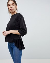 B.Young Pleat Back Boxy Sweatshirt Black