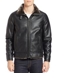 Guess Faux Fur Lined Bomber Jacket Black