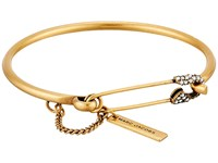 Marc Jacobs Charms Safety Pin Pave Hinge Cuff Bracelet Crystal Antique Gold Bracelet Clear